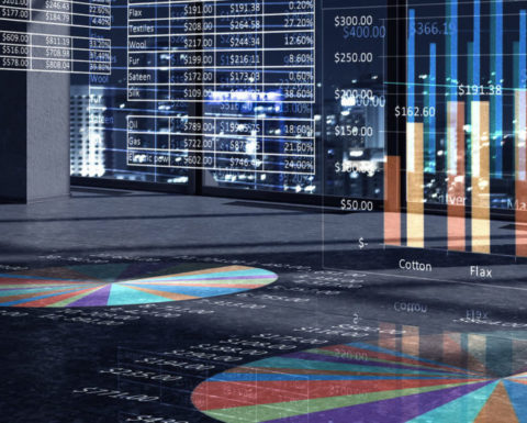 Modern office window view with virtual market infographs