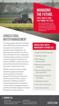 Flyer image for Agricultural Water Management