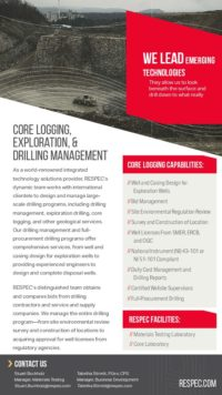 Flyer image for Core Logging, Exploration Drilling, & Drilling Management